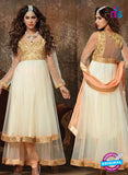 NS 12329 902 Beige and Pink Party Wear Embroidered Georgette and Net Anarkali Style Designer Suit