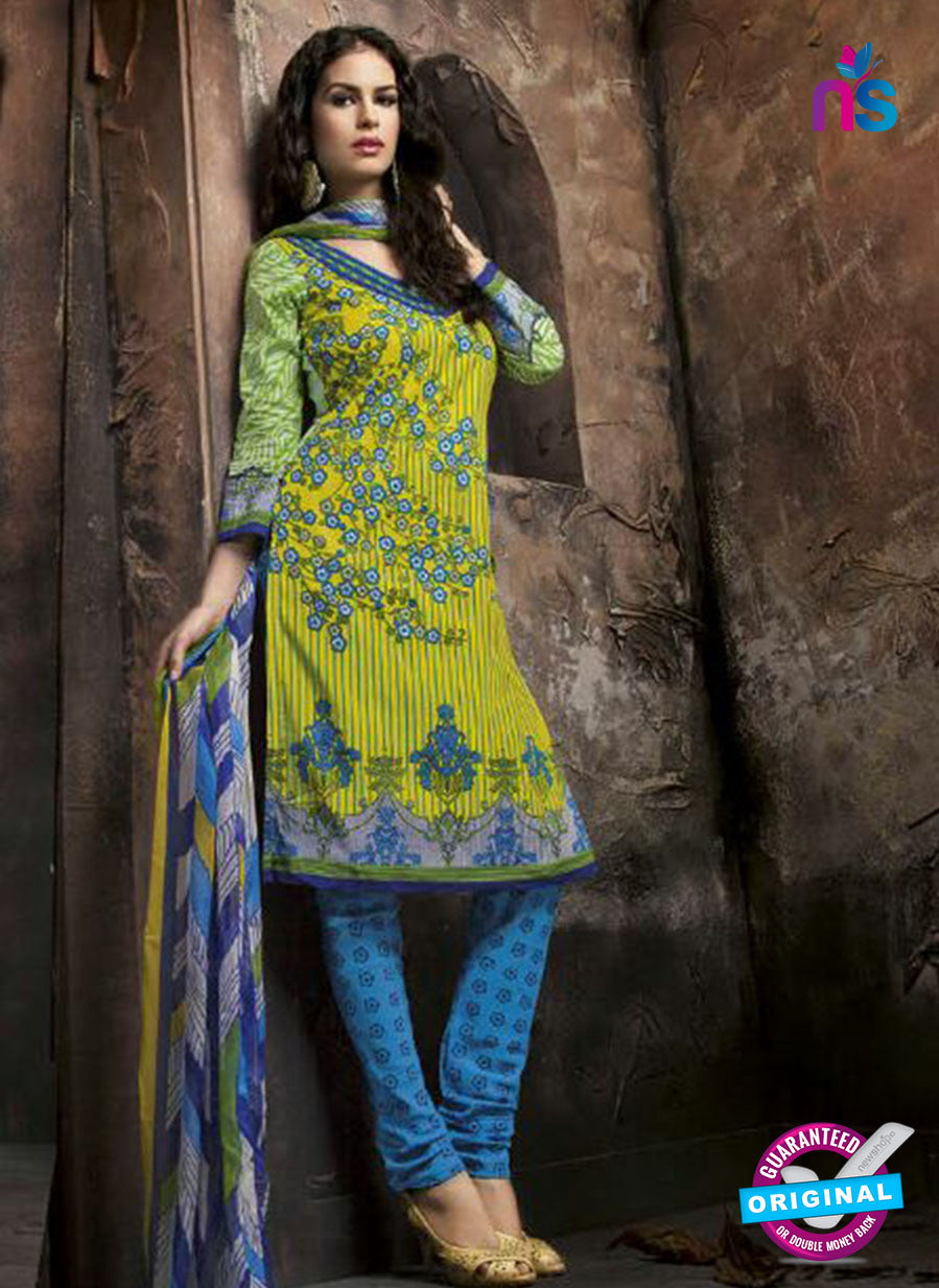 Kalakriti 903 Blue and Yellow Cotton Party Wear Suit