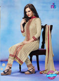 NS11271 Ivory and Red Cotton Straight Suit