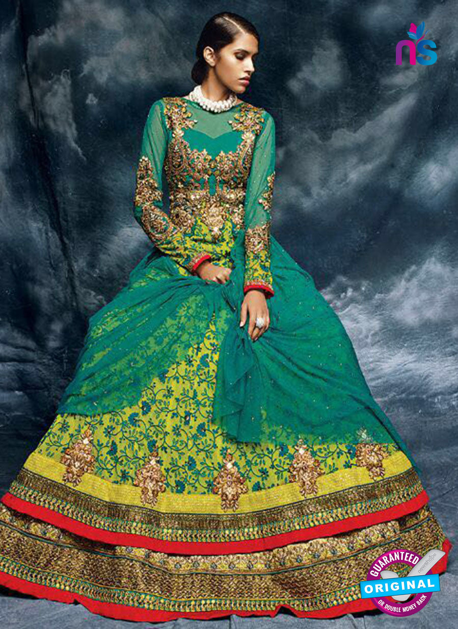 Buy AZ 3781 Green Net Anarkali Suit Online