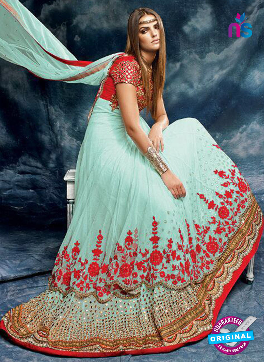 Buy AZ 3785 Sea Green Net and Silk Anarkali Suit Online