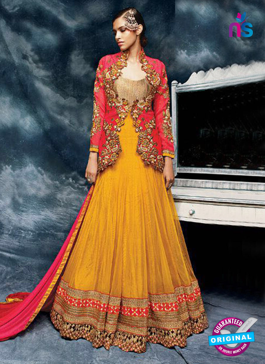 Buy AZ 3786 Yellow Silk Anarkali Suit Online
