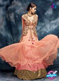Buy AZ 3787 Peach Silk Anarkali Suit Online