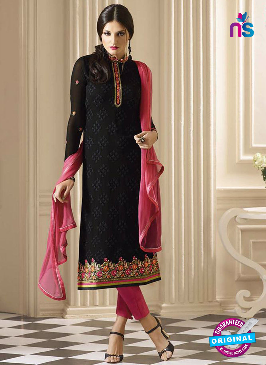 Vivek 904 Black and Pink Color Georgette Designer Straight Suit