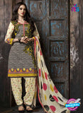 Kalakriti 904 Grey and Beige Cotton Party Wear Suit