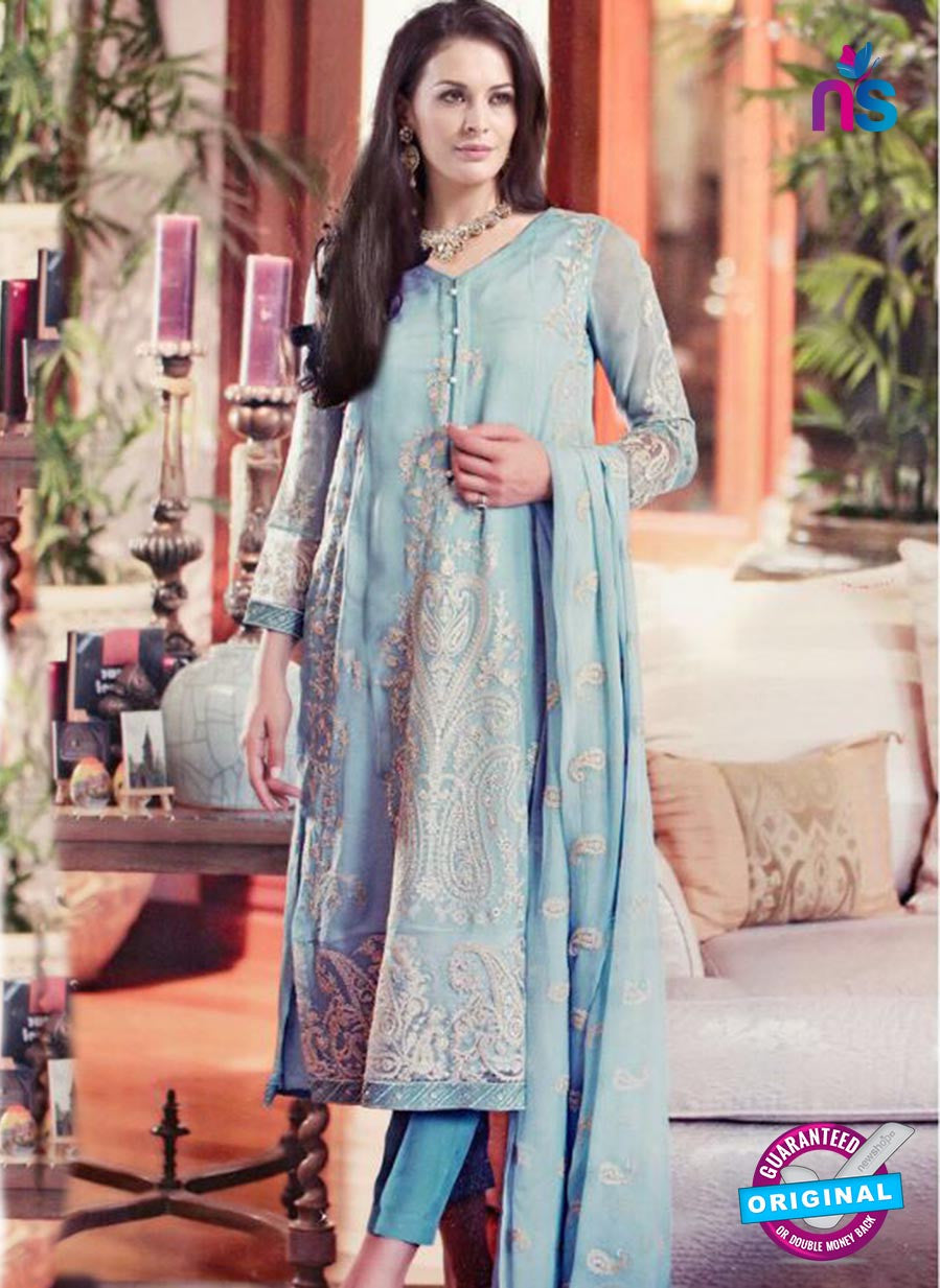 SC 13308 Sky Blue and Gray Embroidered  Gergette Designer Suit