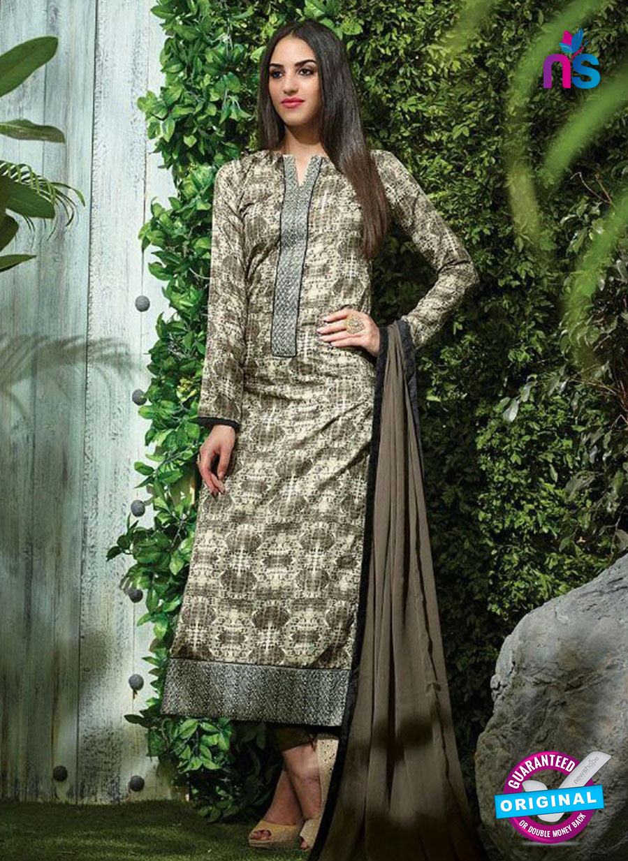 SC 12612 Beige Printed Pure Cotton Satin With Work Party Wear Straight Suit
