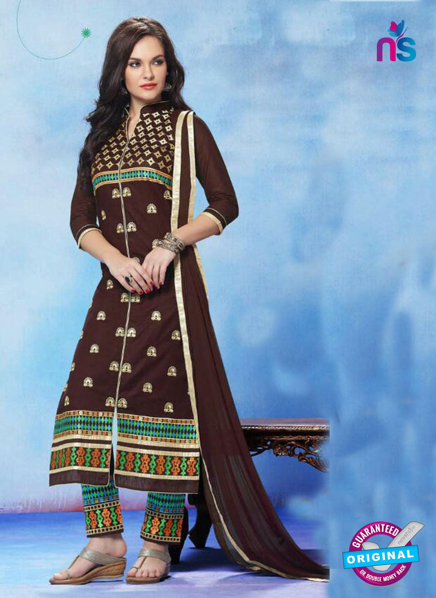 NS11272 DarkChocolateBrown and SpringGreen Cotton Straight Suit