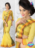 NS11145 Yellow and Green Daily Wear Cotton Silk Saree