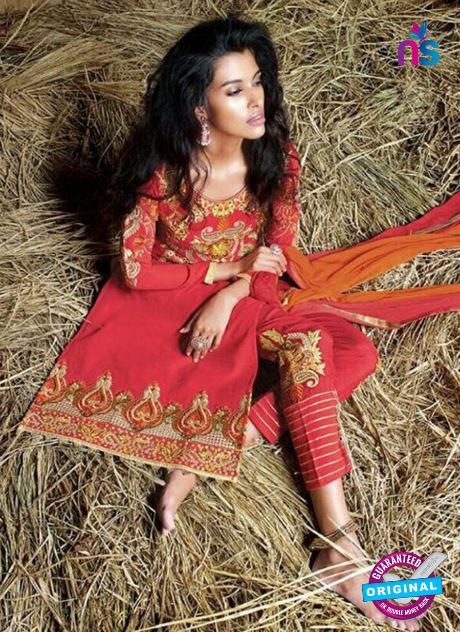 SC 14265 Red Georgtte Party Wear Suit