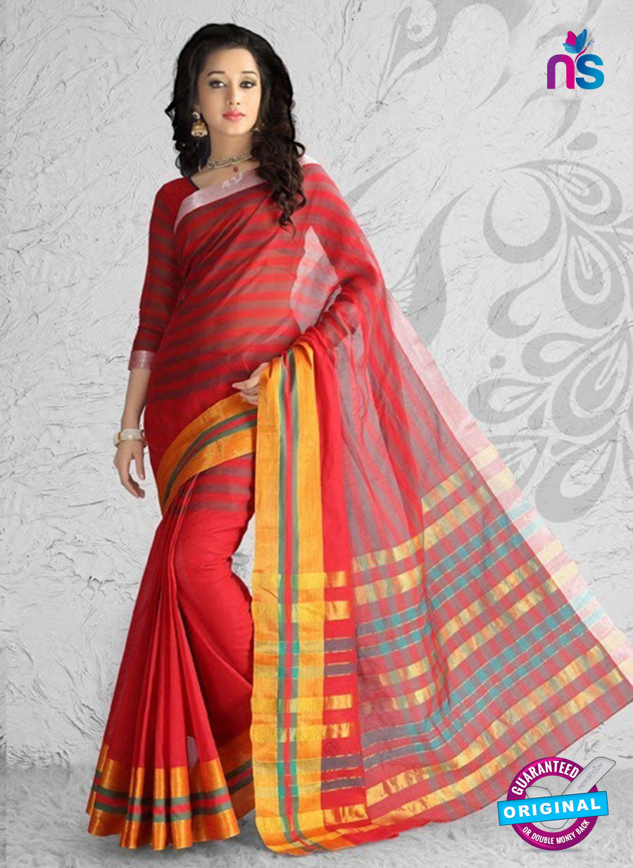 NS11146 Red and Yellow Daily Wear Cotton Silk Saree