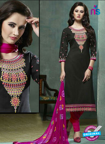 Kessi 9058 Black Printed Cotton Suit
