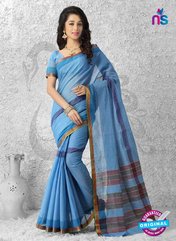 NS11147 Blue and Golden Daily Wear Cotton Silk Saree