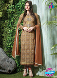 SC 12609 Multicolor and Brown Printed Pure Cotton Satin With Work Party Wear Straight Suit