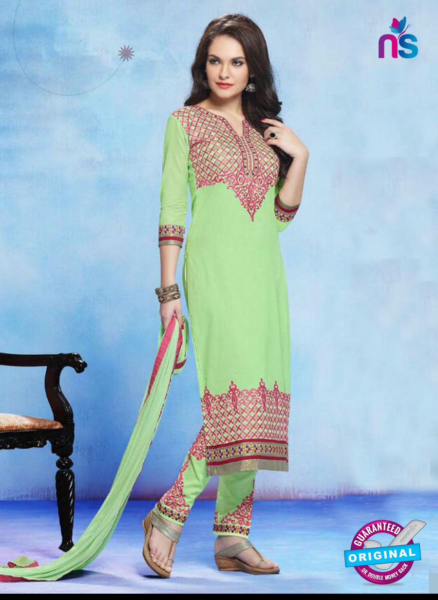 NS11273 LightGreen and Pink Cotton Straight Suit