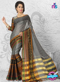 NS11149  Grey and Brown Daily Wear Cotton Silk Saree