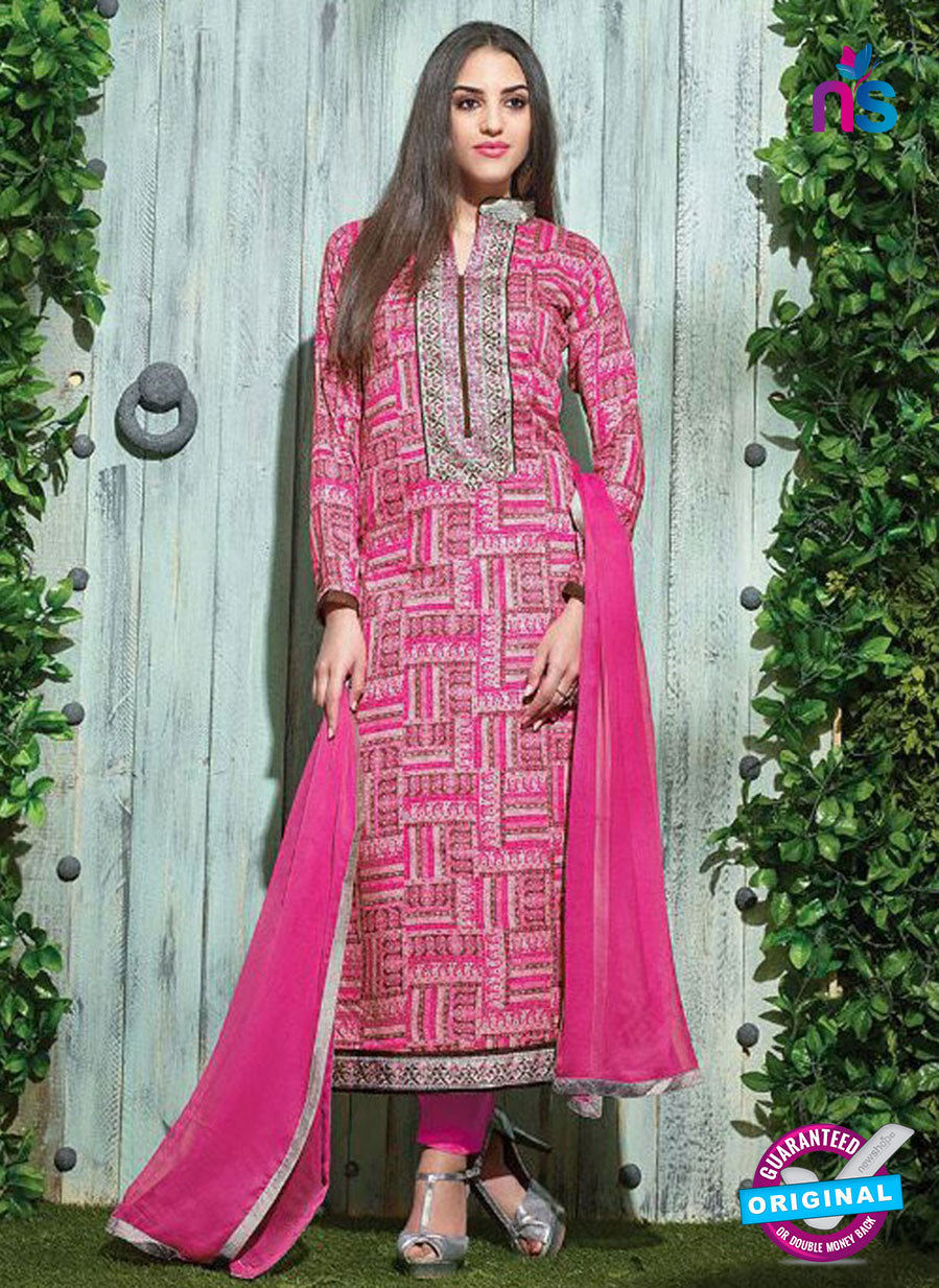 SC 12614 Pink and Multicolor Printed Pure Cotton Satin With Work Party Wear Straight Suit