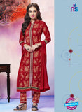 NS11275 Red Cotton Straight Suit