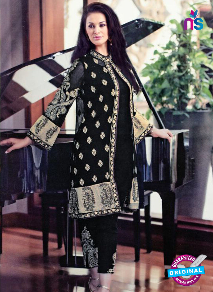 SC 13309 Black and Beige Embroidered Georgette Designer Suit