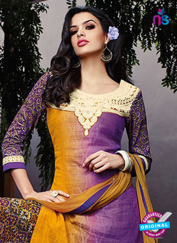 Jinam 9074 B Purple Cotton Satin Plazo Suit Online