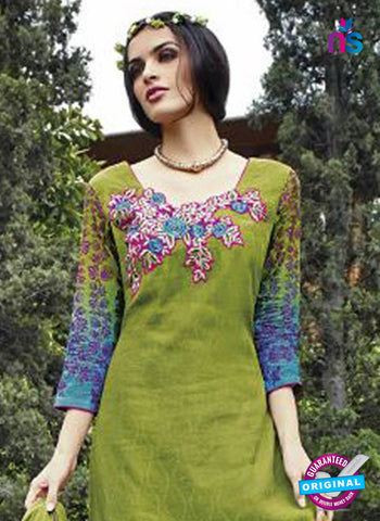 Jinam 9076 A Green Cotton Satin Plazo Suit Online