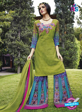 Jinam 9076 A Green Cotton Satin Plazo Suit