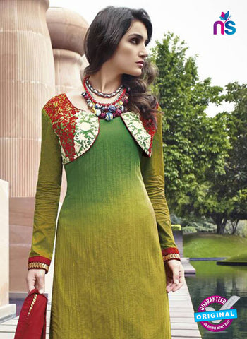 Jinam 9077A Green Cotton Satin Plazo Suit