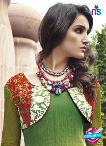 Jinam 9077A Green Cotton Satin Plazo Suit Online