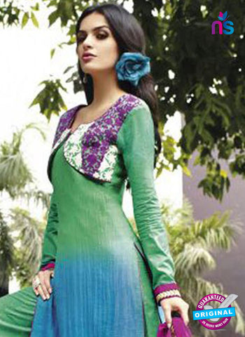 Jinam 9077 B Green and Blue Cotton Satin Plazo Suit Online