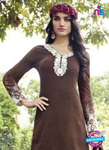 Jinam 9078 A Brown Cotton Satin Plazo Suit