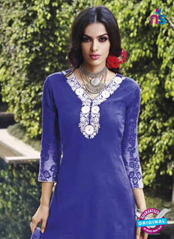Jinam 9078 B Blue Cotton Satin Plazo Suit Online