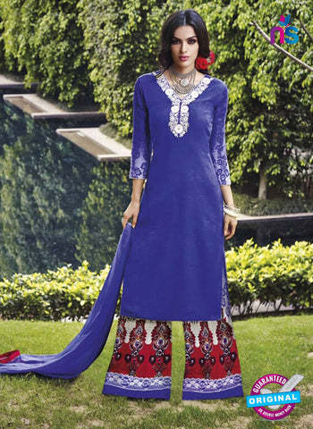 Jinam 9078 B Blue Cotton Satin Plazo Suit
