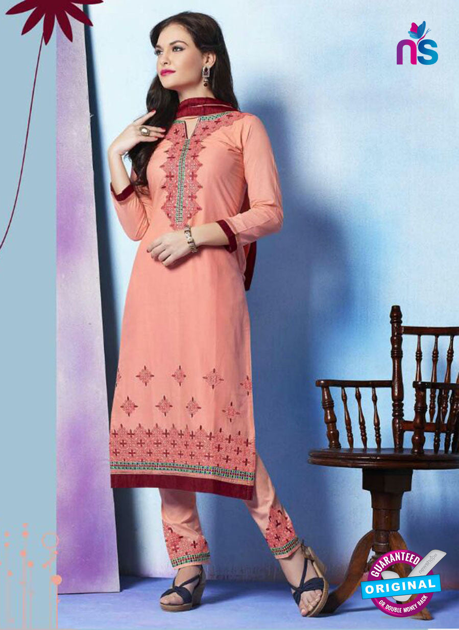 NS11276 Pink and Maroon Cotton Straight Suit