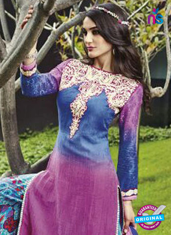 Jinam 9080 B Purple and Blue Cotton Satin Plazo Suit