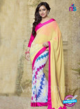 SC 13189 Beige and White Designer Saree