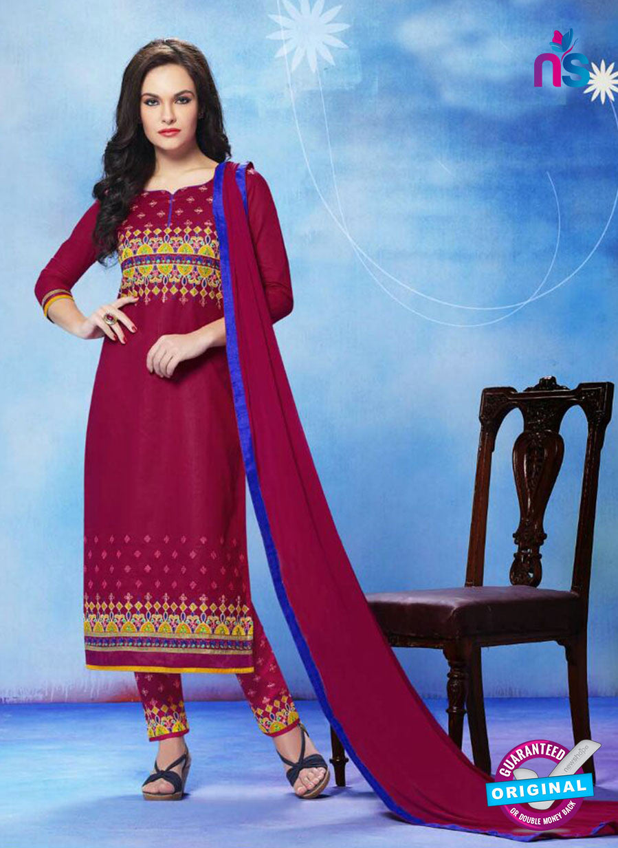 NS11277 CrimsonRed and Yellow Cotton Straight Suit