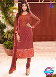 Karma 9093 Maroon Georgette Party Wear Suit