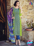 Bahni 9096-Green and Blue Color Cotton Designer Suit