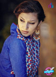 Bahni 9097-Blue and Red Color Cotton Designer Suit