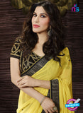 SC 13505 Yellow and Black Designer Fancy Traditional Party Wear Saree