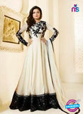LT 91001 Beige and Black Georgette Exclusive Function Wear Designer Gawn
