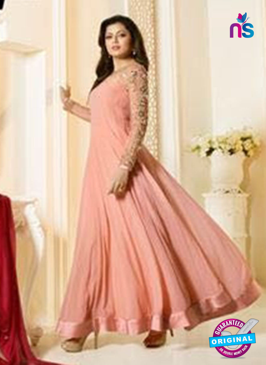 LT 91007 Peach Georgette Exclusive Function Wear Designer Gown