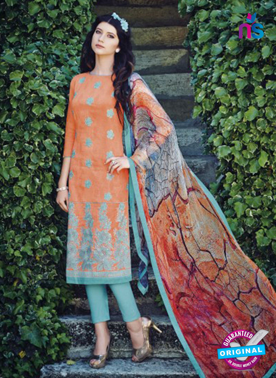Bahni 9101-Orange and Green Color Cotton Designer Suit