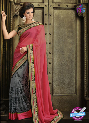 AZ 3286 Peach and Grey Georgette Party Wear Saree
