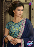 AZ 3288 Blue and Green Georgette Party Wear Saree - Sarees - NEW SHOP