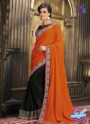AZ 3290 Orange and Black Georgette Party Wear Saree