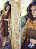 Bahni 9107-Brown and Yellow Color Cotton Designer Suit