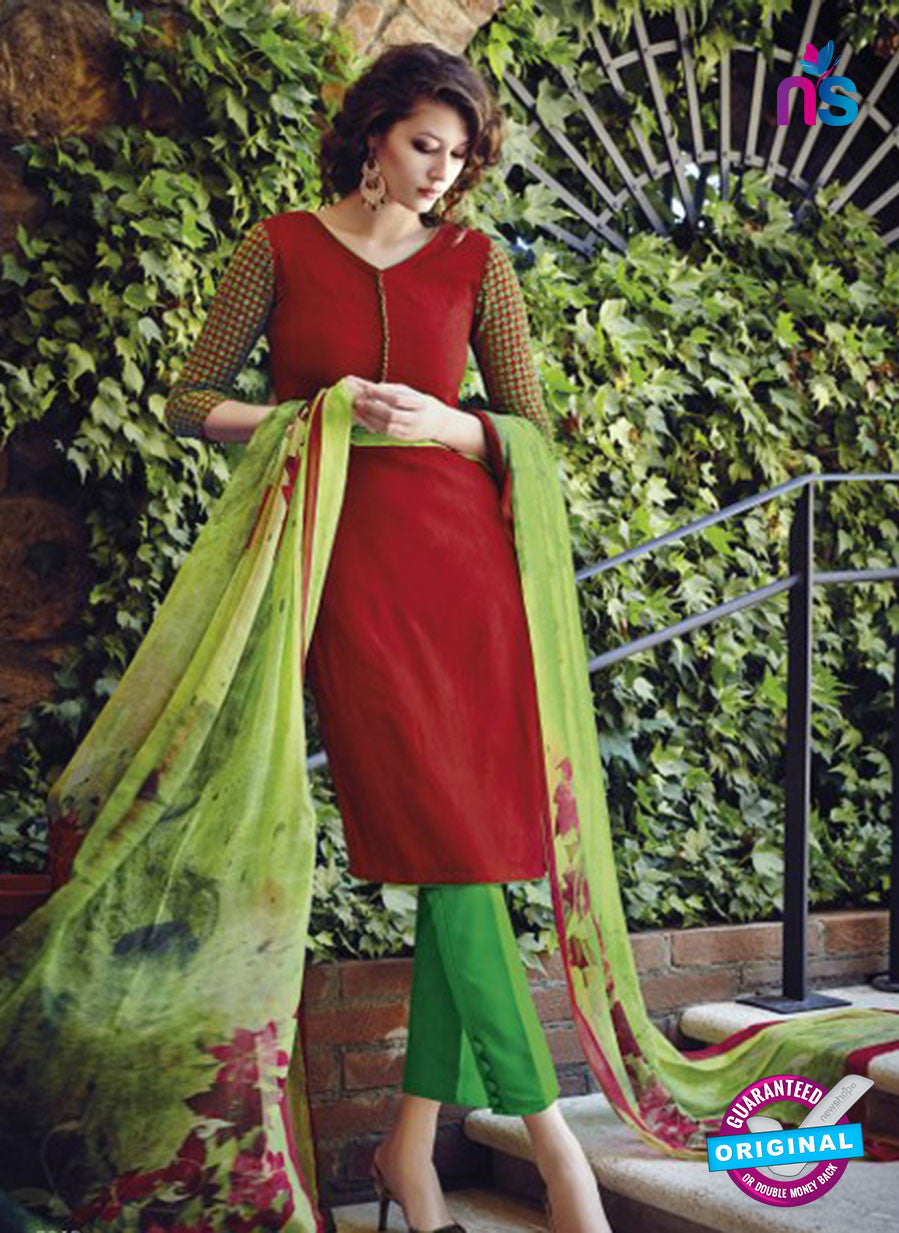 Bahni 9108-Red and Green Color Cotton Designer Suit
