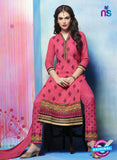 NS11278 DarkPink and Black Cotton Straight Suit