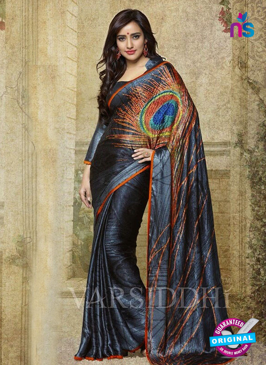 SC 13191 Grey and Orange Designer Saree